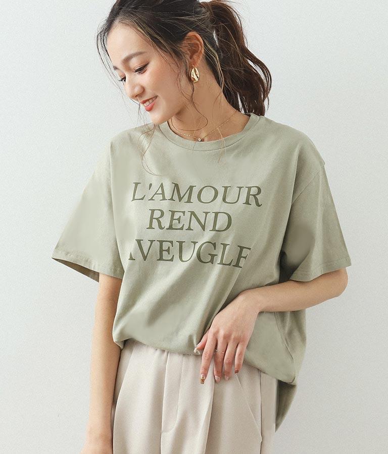 同色プリントロゴTシャツ