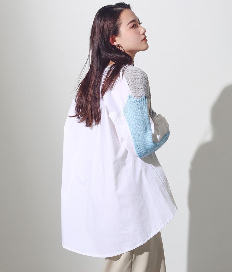 バイカラーニットカーディガンドッキングデザインシャツ | Settimissimo