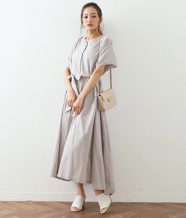 肩タックフレンチスリーブワンピース(ワンピース・ドレス/ロングワンピ)   CHILLE