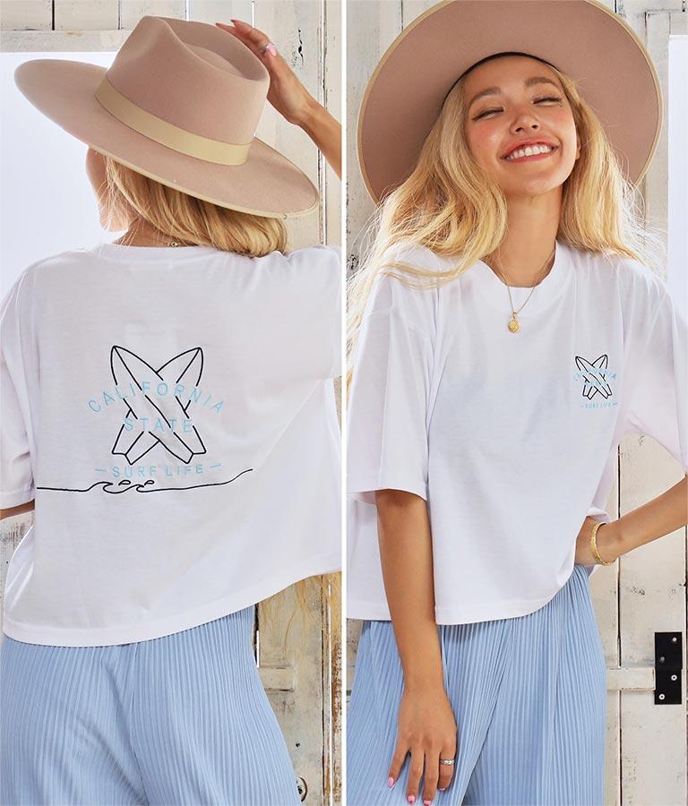 刺繍クロップドTシャツ