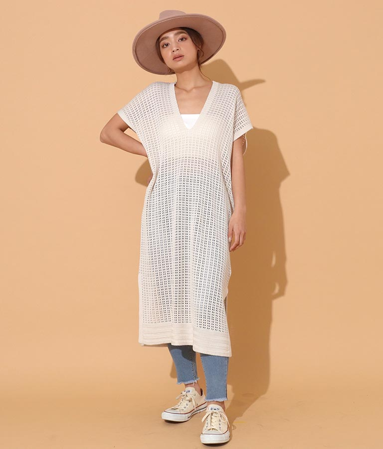 透かし編み両Vネックワンピース(ワンピース・ドレス/ロングワンピ) | anap mimpi
