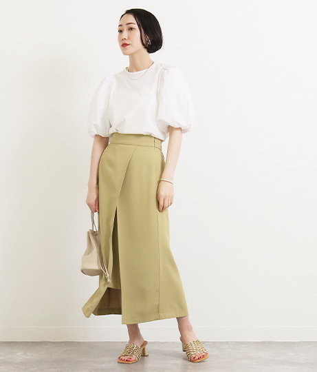 【低身長向けサイズ】レイヤード風タイトスカート