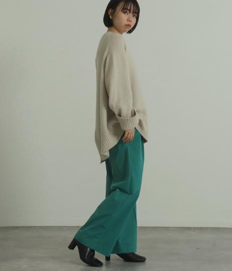 【低身長向けサイズ】ハイウエストカラーワイドパンツ(ボトムス・パンツ /ロングパンツ) | AULI