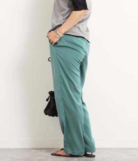 【裾上げ無料サービス対象商品】【低身長向けサイズ】サテンリラックスパンツ(ボトムス・パンツ /ロングパンツ) | AULI