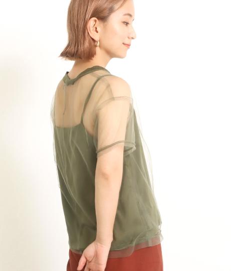 【低身長向けサイズ】チュールTシャツ+キャミソールセット(トップス) | AULI