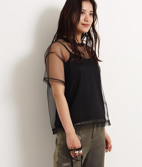 【低身長向けサイズ】チュールTシャツ+キャミソールセット
