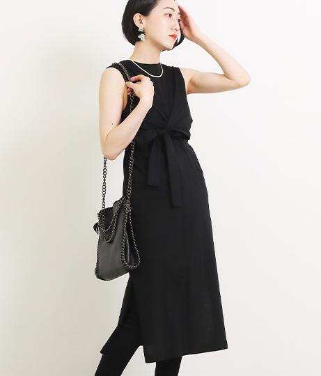 【低身長向けサイズ】結リボンノースリーブカットソーワンピース(ワンピース・ドレス)   AULI