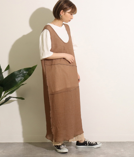 2wayウェーブ加工シアーワンピース(ワンピース・ドレス/ロングワンピ)   Factor=