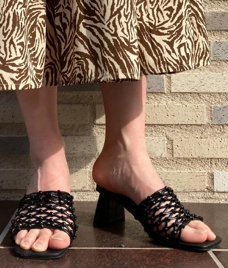 手編みスクエアヒールミュール(シューズ・靴/サンダル) | Factor=