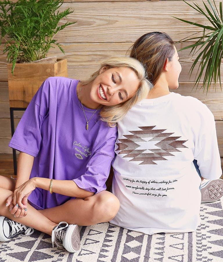 オルテガ刺繍切替えTシャツ