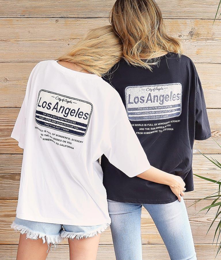 サガラ刺繍プレートTシャツ