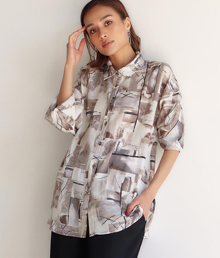 ニュアンスパターンルーズシャツ(トップス/シャツ・ブラウス)   Alluge