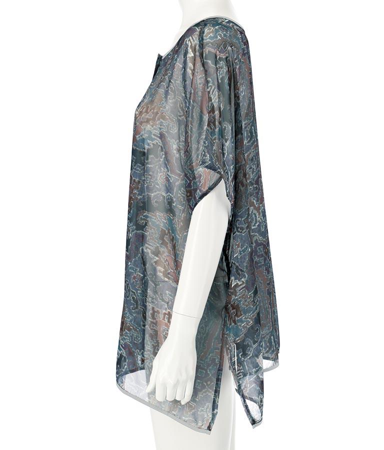 刺繍風プリント2WAYポンチョブラウス(トップス/シャツ・ブラウス) | Alluge