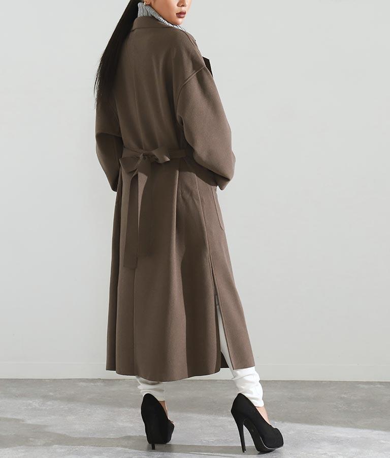 Wフェイスサイドスリットロング軽コート