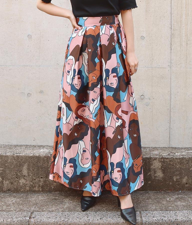 フェイスグラフィックプリントサテンフレアロングスカート(ボトムス・パンツ /スカート) | Settimissimo