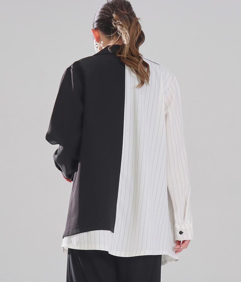 バイカラーアシンメトリーデザインジャケット(アウター(コート・ジャケット) /ジャケット・ブルゾン) | Settimissimo