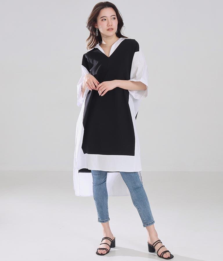 ドッキングデザインシャツワンピース(ワンピース・ドレス/ロングワンピ・ミディアムワンピ) | Settimissimo