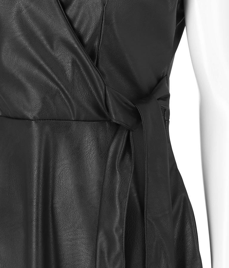 フェイクレザーカシュクールデザインワンピース(ワンピース・ドレス/ミディアムワンピ) | Settimissimo