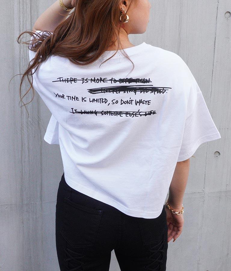 プリントクロップドダメージTシャツ
