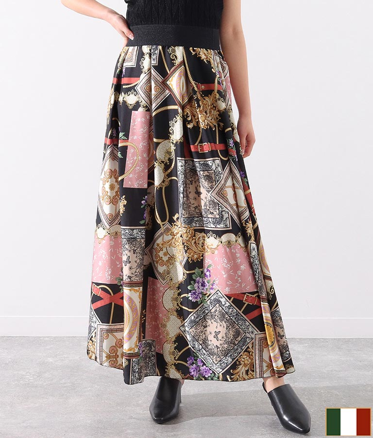 スカーフ柄タックデザインサテンロングスカート(ボトムス・パンツ /スカート) | Settimissimo