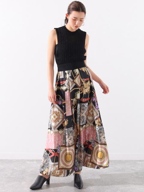 スカーフ柄タックデザインサテンロングスカート