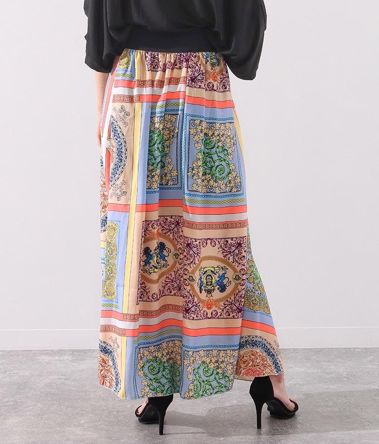 MIXスカーフ柄サテンタックデザインロングスカート(ボトムス・パンツ /スカート) | Settimissimo