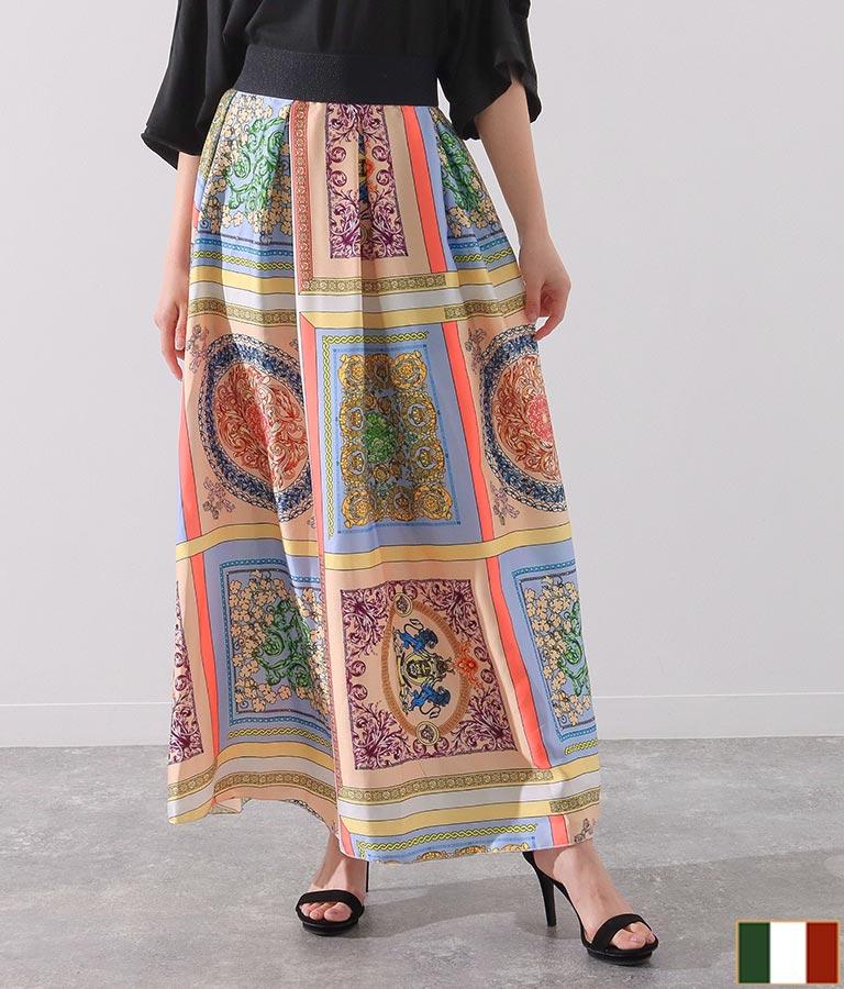 MIXスカーフ柄サテンタックデザインロングスカート