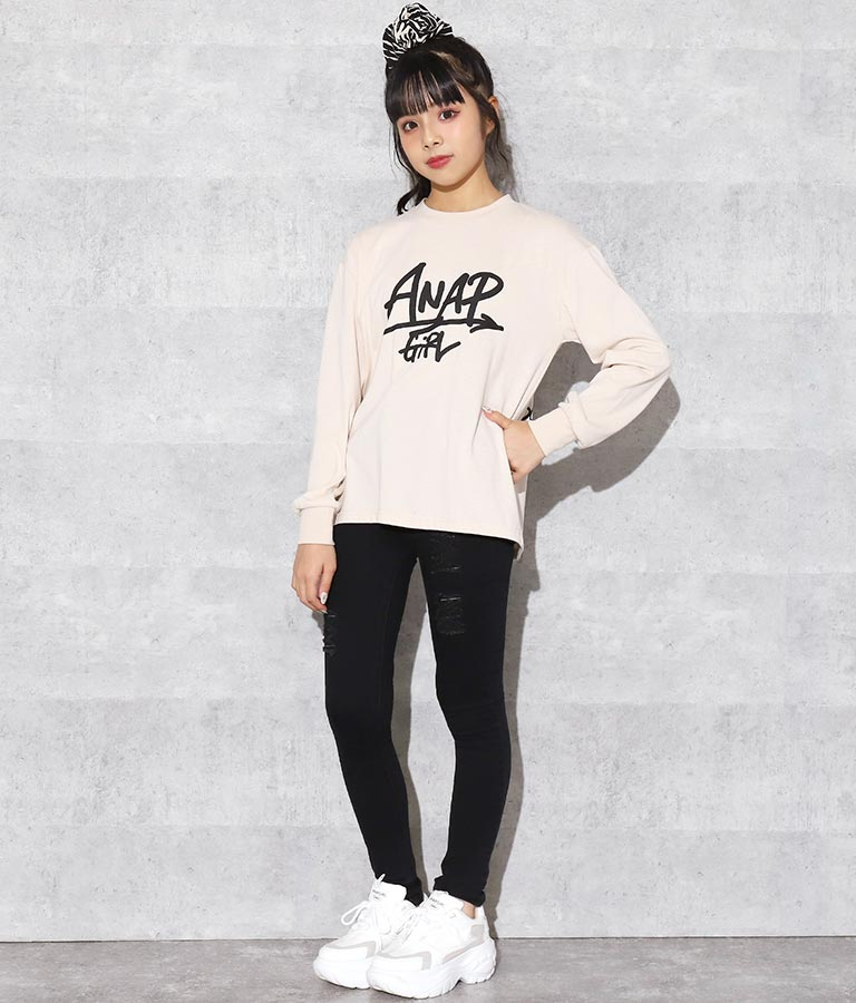 手書きロゴロングTシャツ(トップス/カットソー ) | ANAP GiRL