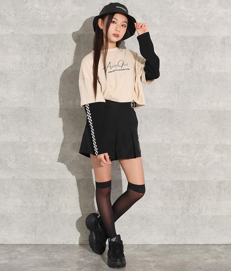 レイヤード風ショート丈ロングTシャツ(トップス/カットソー )   ANAP GiRL