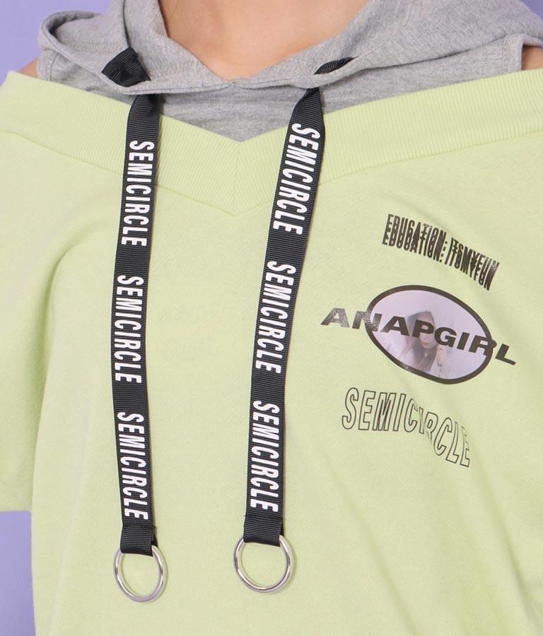 リングテープ付肩アキフーディートップス(トップス/カットソー ) | ANAP GiRL