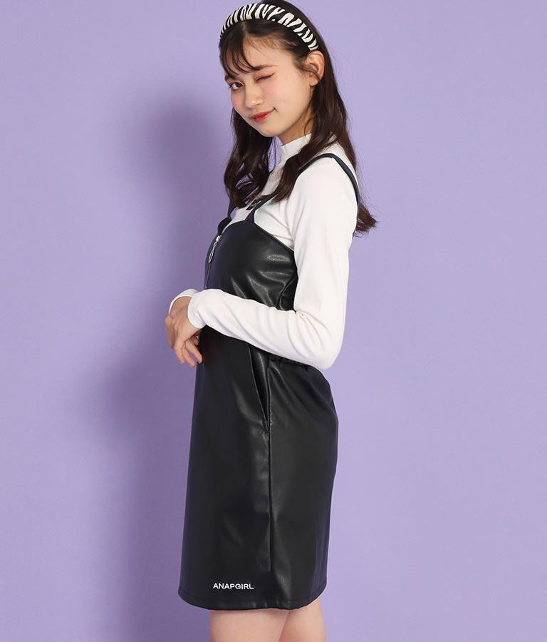 フェイクレザーリングジップジャンパースカート(ワンピース・ドレス/ミディアムワンピ) | ANAP GiRL