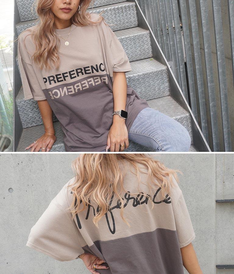 バイカラープリントビッグTシャツ