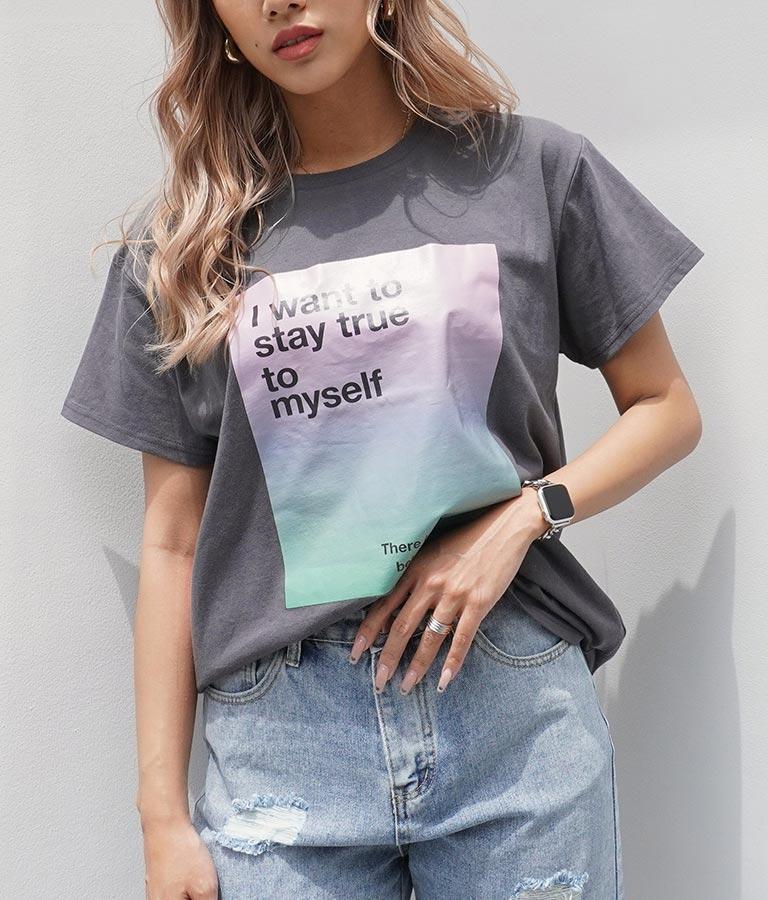 グラデーション転写BOXプリントTシャツ
