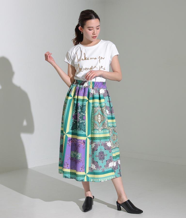 スカーフ柄タックデザインフレアスカート(ボトムス・パンツ /スカート) | Settimissimo