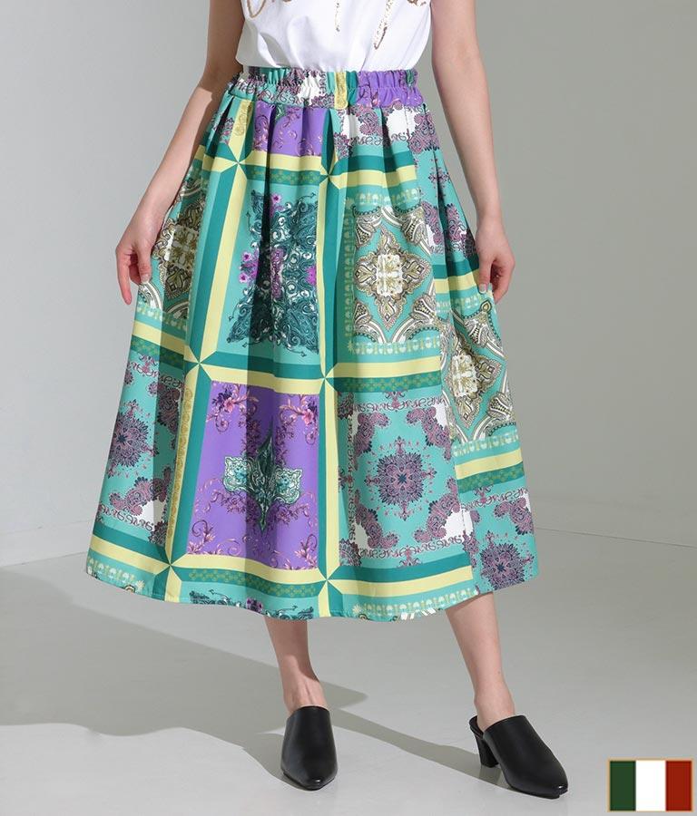 スカーフ柄タックデザインフレアスカート