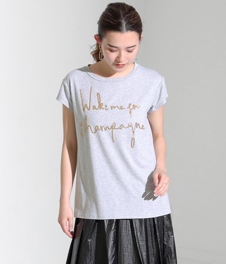 ゴールドビーズメッセージTシャツ(トップス/Tシャツ) | Settimissimo