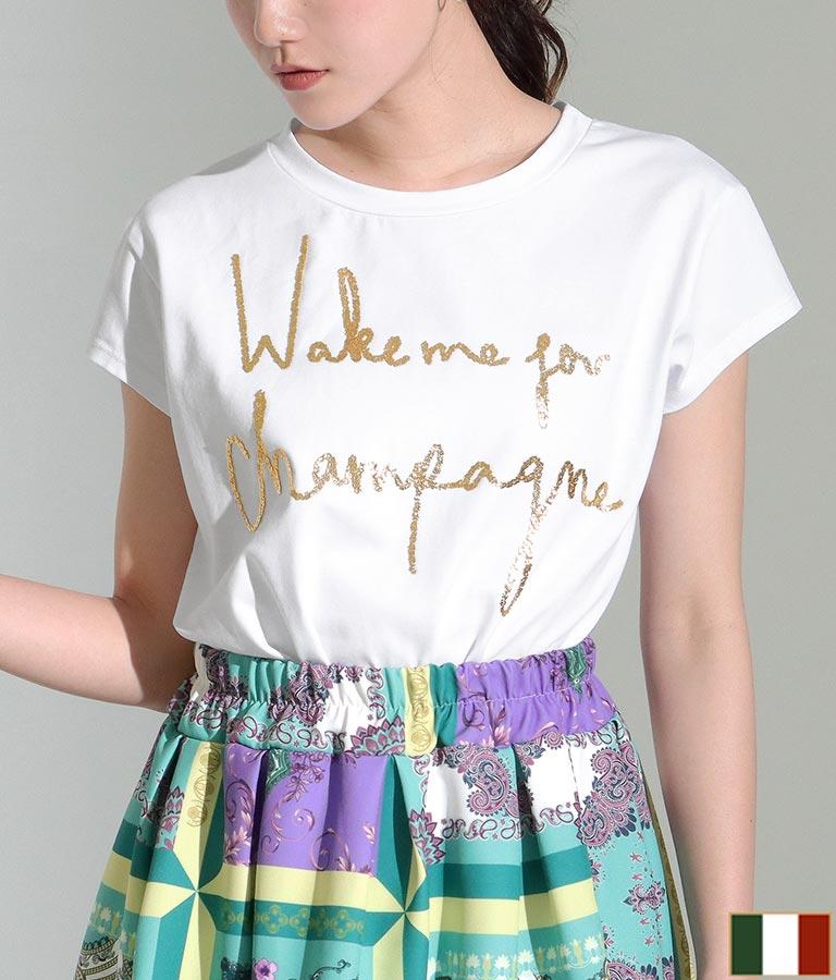 ゴールドビーズメッセージTシャツ