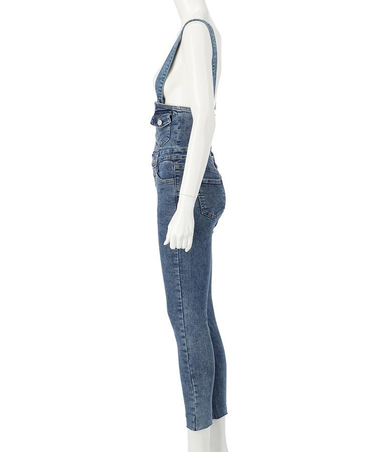 フロントボタンデニムスキニーサロペット(ワンピース・ドレス/サロペット/オールインワン) | ANAP