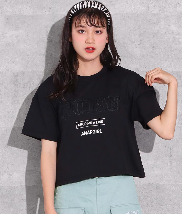 サテンワッペンクロップドトップス(トップス/Tシャツ) | ANAP GiRL