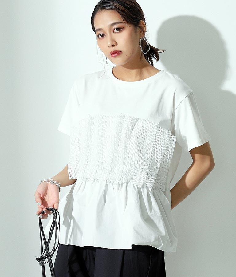 チュール付デザインTシャツ