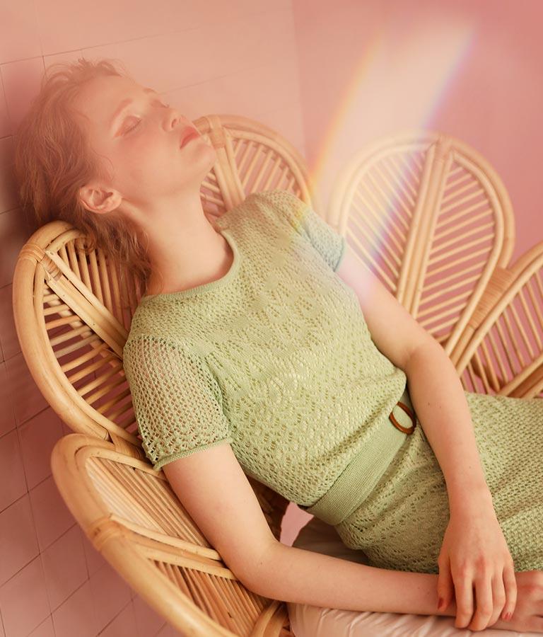 カギ編みサマーニットフレアワンピース(ワンピース・ドレス/ロングワンピ) | CHILLE