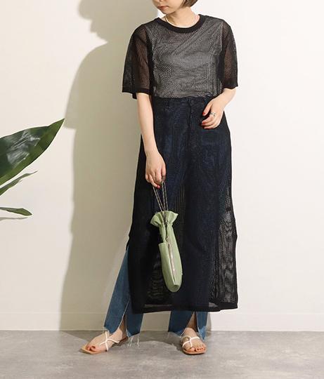 メッシュ編 半袖ニットワンピース(ワンピース・ドレス/ロングワンピ) | Factor=