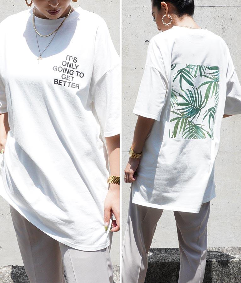 リーフボックスプリントTシャツ