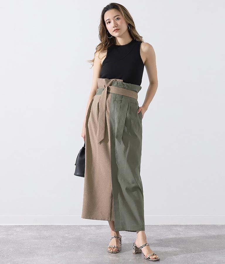 アシンメトリーラップタイトスカート(ボトムス・パンツ /ミモレ丈スカート・スカート) | Alluge
