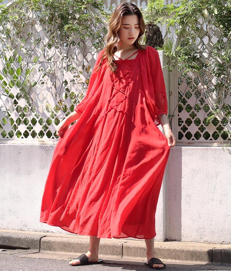 レースアップボリュームスリーブドレス(ワンピース・ドレス/ロングワンピ) | Alluge