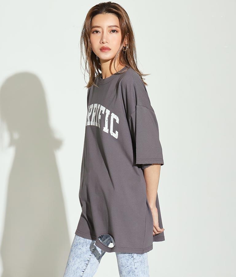 カレッジロゴダメージビッグTシャツ(トップス/Tシャツ) | ANAP