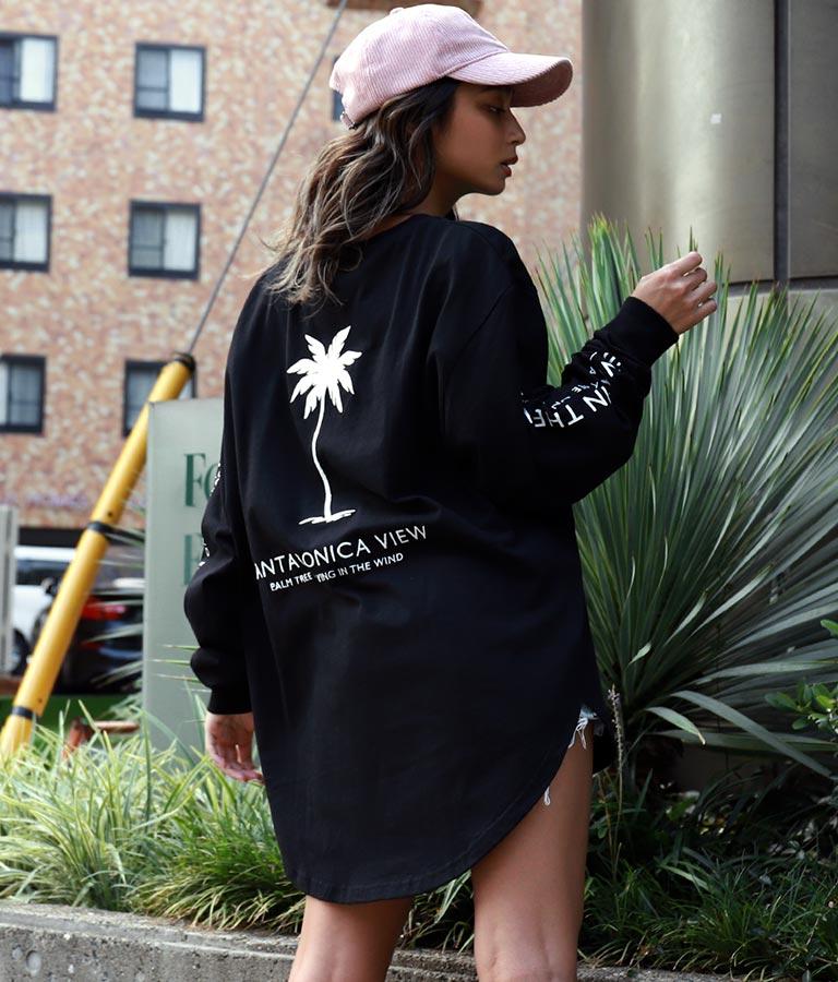 パームツリー刺繍ラウンドヘムロングTシャツ