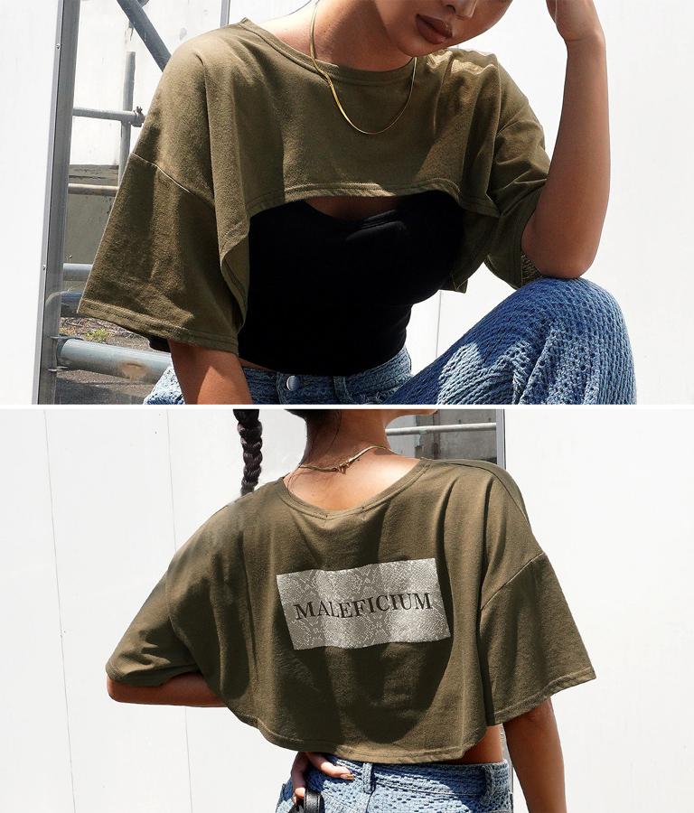 パイソンプリントスーパーショートTシャツ