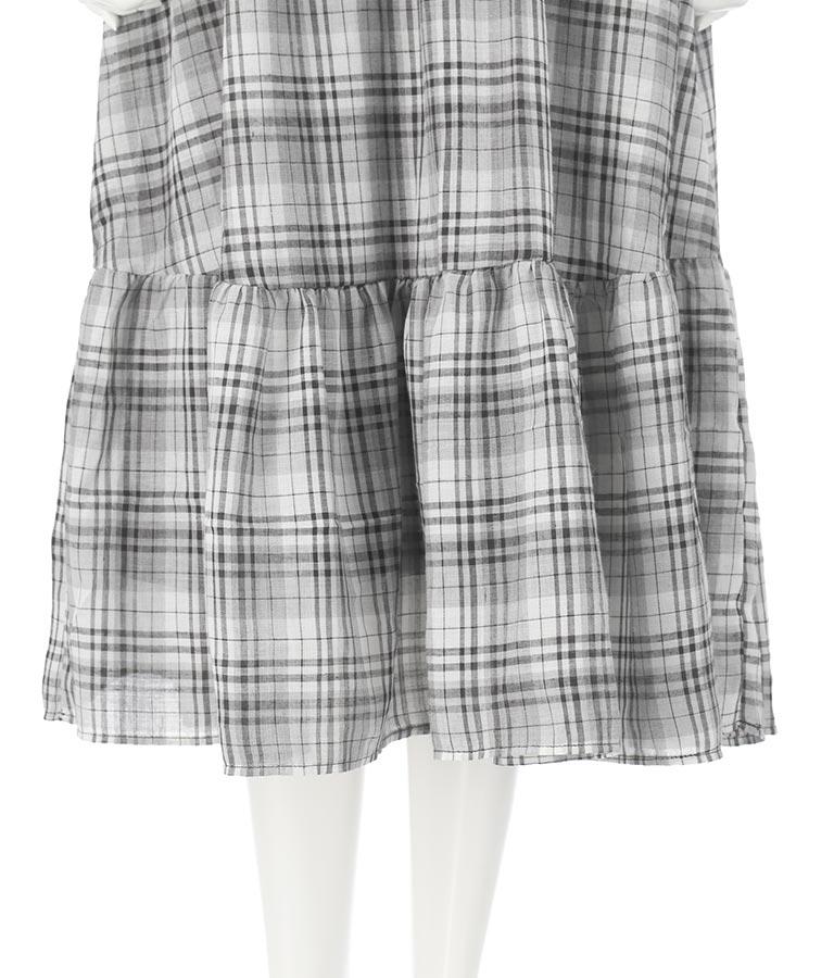 マカロンチェックティアードワンピース(ワンピース・ドレス/ロングワンピ・ミディアムワンピ) | CHILLE
