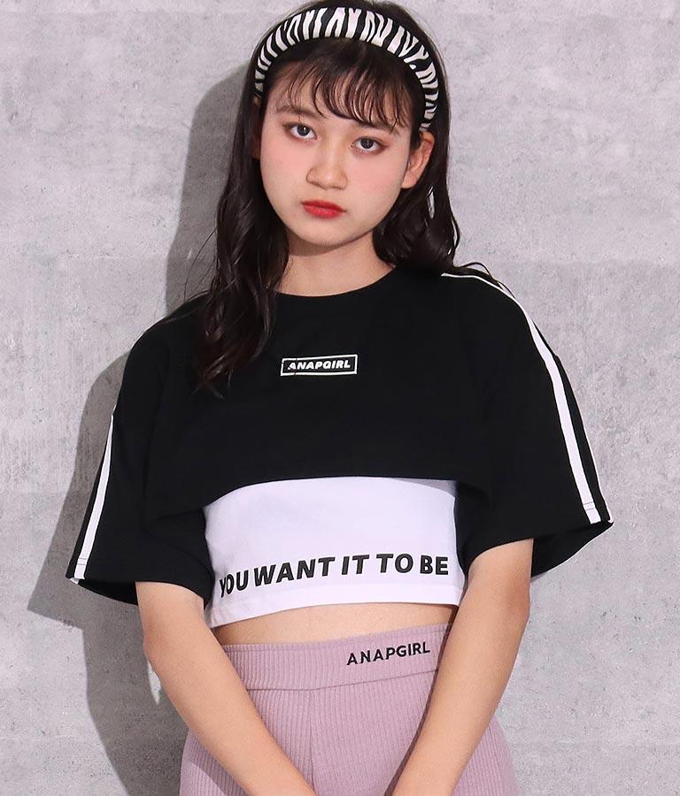 超ショート丈Tシャツ&タンクトップセットアップ(トップス/Tシャツ・タンクトップ) | ANAP GiRL
